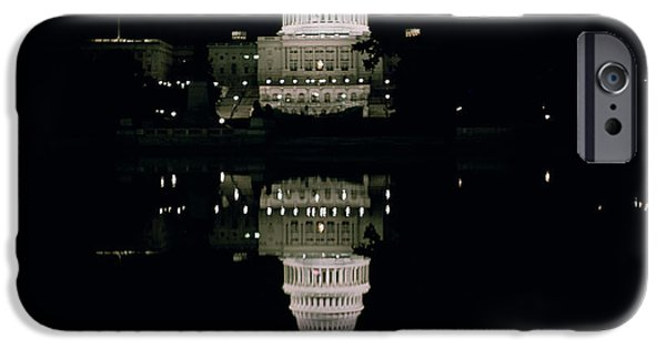 Politics iPhone Cases - Night View of the Capitol iPhone Case by American School