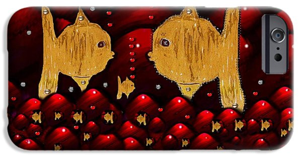Goldfish Mixed Media iPhone Cases - No More Cesium 137 iPhone Case by Pepita Selles