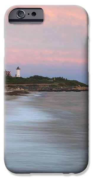 Cape Cod iPhone Cases - Nobska Lighthouse Evening Surf iPhone Case by John Burk