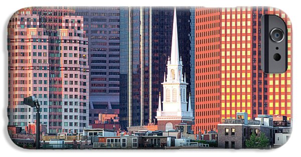 City. Boston iPhone Cases - North Church Steeple iPhone Case by Susan Cole Kelly