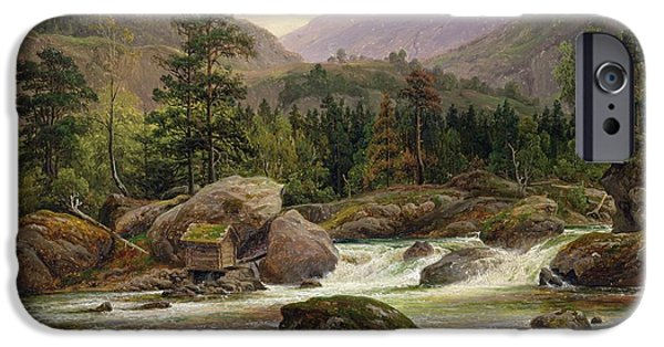 Mountain Paintings iPhone Cases - Norwegian Waterfall iPhone Case by Thomas Fearnley