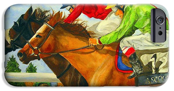 Horses iPhone Cases - Nose to Nose iPhone Case by Jean Blackmer