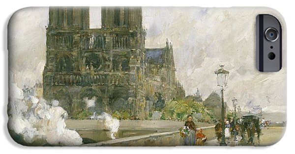 Nineteenth Paintings iPhone Cases - Notre Dame Cathedral - Paris iPhone Case by Childe Hassam