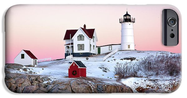 Cape Neddick Lighthouse iPhone Cases - Nubble Glow iPhone Case by Susan Cole Kelly