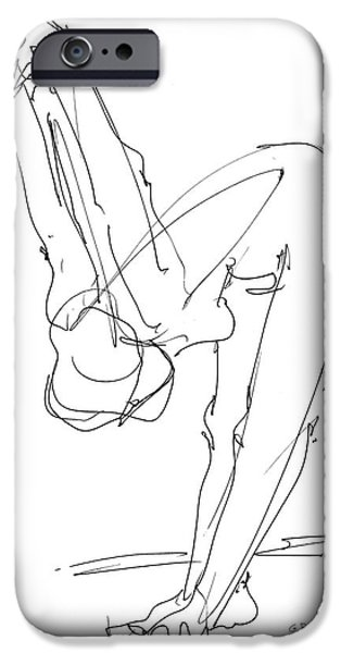 Figure Drawing iPhone Cases - Nude Female Drawings 10 iPhone Case by Gordon Punt