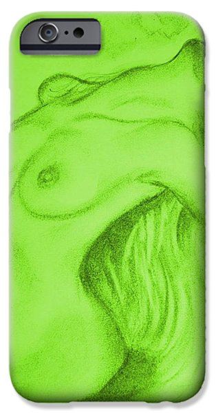 Graphite Drawing Pastels iPhone Cases - Nude-leaning back-001-2880-3840-in Green iPhone Case by Pat Bullen-Whatling