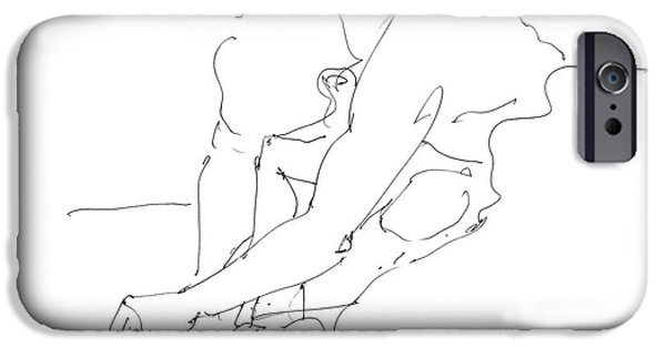 Male Nude Drawing Drawings iPhone Cases - Nude Male Drawings 8 iPhone Case by Gordon Punt