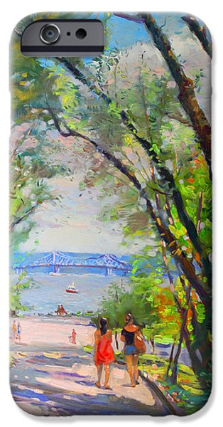 Hudson River iPhone Cases - Nyack Park a Beautiful Day for a Walk iPhone Case by Ylli Haruni