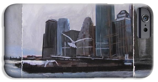 Nyc Mixed Media iPhone Cases - NYC Pier 11 layered iPhone Case by Anita Burgermeister