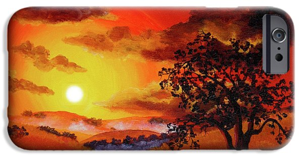 Surreal Landscape iPhone Cases - Oak Tree in Red Sunset iPhone Case by Laura Iverson