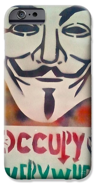 First Amendment Paintings iPhone Cases - Occupy Mask iPhone Case by Tony B Conscious