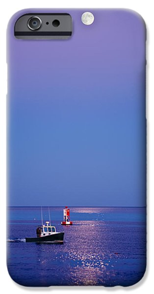 Maine iPhone Cases - Ocean Moonrise iPhone Case by Steve Gadomski