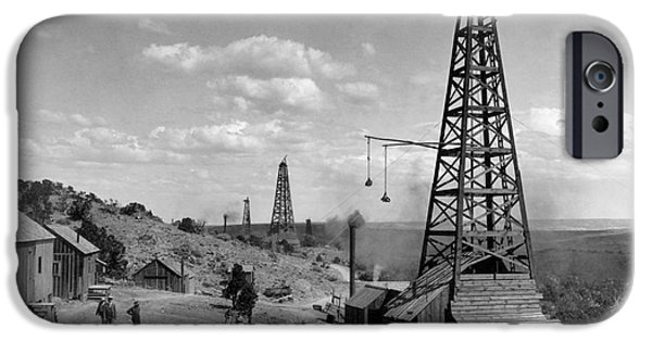 Industry iPhone Cases - OIL WELL, WYOMING, c1910 iPhone Case by Granger