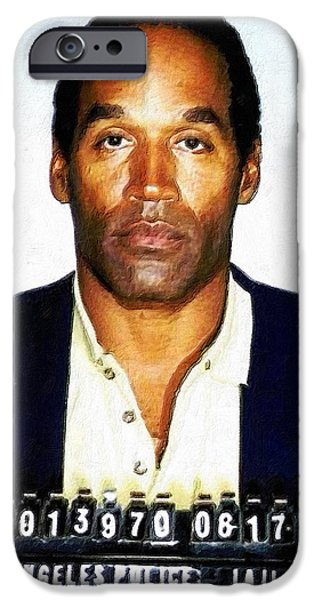 Police iPhone Cases - OJ  Simpson Mug Shot 1994 Vertical Color PAINTING  iPhone Case by Tony Rubino