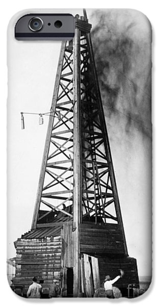 Industry iPhone Cases - OKLAHOMA: OIL WELL, c1922 iPhone Case by Granger
