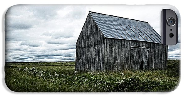 Old Barns iPhone Cases - Old Barn In Field iPhone Case by Steve Muise