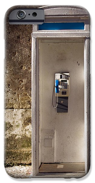 Cabin Window iPhone Cases - Old phonebooth iPhone Case by Carlos Caetano