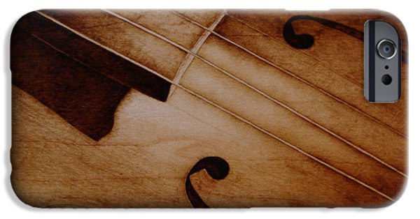 Music Pyrography iPhone Cases - Old Song iPhone Case by Jo Schwartz