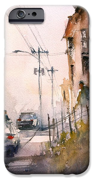 City Scene Paintings iPhone Cases - Old Wautoma Hotel iPhone Case by Ryan Radke