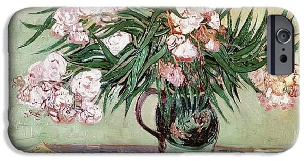 Blossom iPhone Cases - Oleanders and Books iPhone Case by Vincent van Gogh