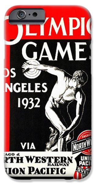 Sears Tower iPhone Cases - Olympic Games Los Angeles 1932 - Restored iPhone Case by Vintage Advertising Posters