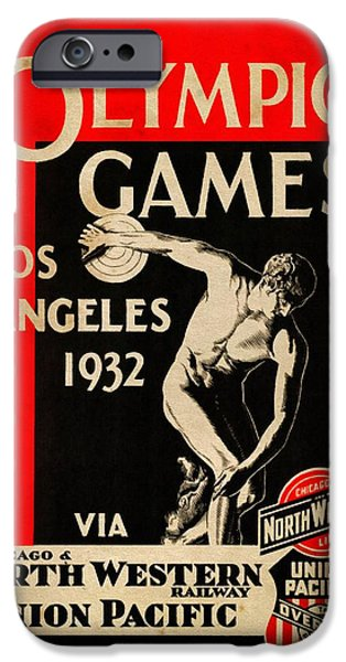 Sears Tower iPhone Cases - Olympic Games Los Angeles 1932 - Vintagelized iPhone Case by Vintage Advertising Posters