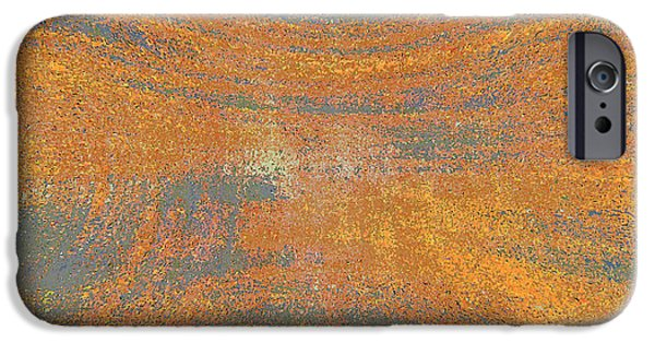 Abstract Digital Photographs iPhone Cases - Orange and Gray Abstract iPhone Case by Carol Groenen