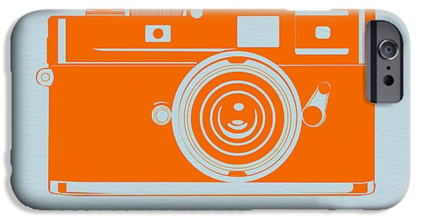 Kids Art iPhone Cases - Orange camera iPhone Case by Naxart Studio