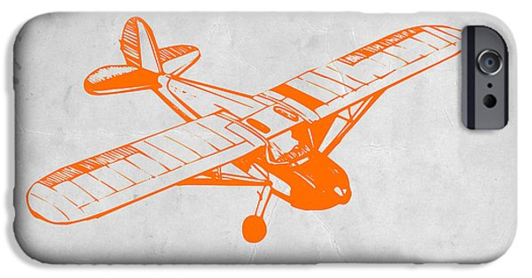 Kids Art iPhone Cases - Orange Plane 2 iPhone Case by Naxart Studio