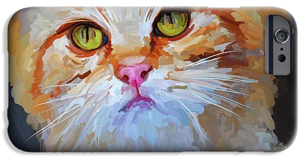 Orange Tabby Paintings iPhone Cases - Orange Tabby Cat - Square iPhone Case by Jai Johnson