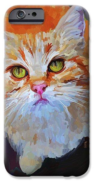 Orange Tabby Paintings iPhone Cases - Orange Tabby Cat iPhone Case by Jai Johnson