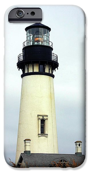 Head Harbour Lighthouse iPhone Cases - Oregon Coast Lighthouses - Yaquina Head Lighthouse iPhone Case by Christine Till