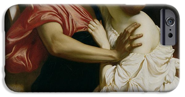 Pulling Paintings iPhone Cases - Orpheus and Euridyce iPhone Case by Frederic Leighton