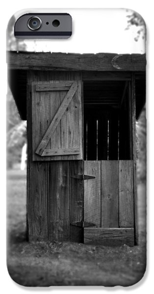 Bathroom Prints iPhone Cases - Out House in Black and White iPhone Case by Rebecca Brittain