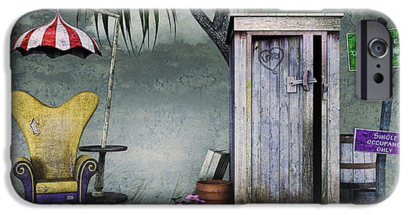 3d Graphic iPhone Cases - Outhouse iPhone Case by Jutta Maria Pusl