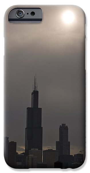 Willis Tower iPhone Cases - Over the Willis Tower iPhone Case by Andrei Shliakhau