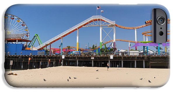 Rollercoaster Photographs iPhone Cases - Pacific Park at Santa Monica Pier in Santa Monica California DSC3696 iPhone Case by Wingsdomain Art and Photography