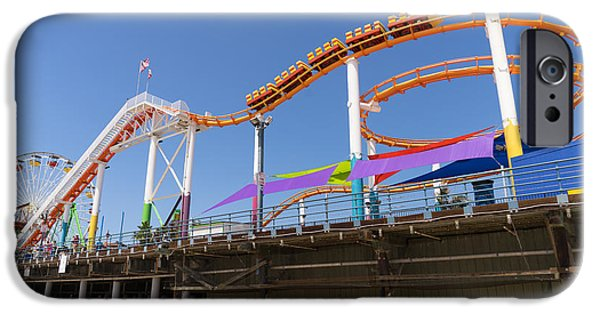 Rollercoaster Photographs iPhone Cases - Pacific Park at Santa Monica Pier in Santa Monica California DSC3699 iPhone Case by Wingsdomain Art and Photography