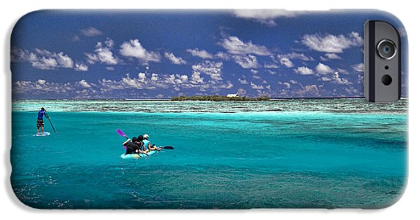 Paddle iPhone Cases - Paddling in Moorea iPhone Case by David Smith