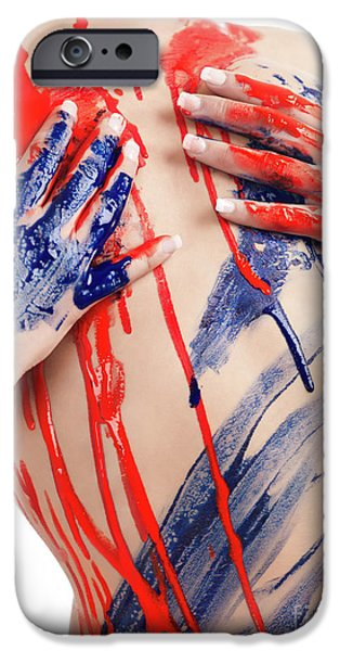 Dribbling iPhone Cases - Paint on Woman Body iPhone Case by Oleksiy Maksymenko