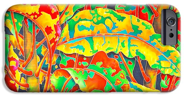 Plant Tapestries - Textiles iPhone Cases - painted Crotons iPhone Case by Daniel Jean-Baptiste