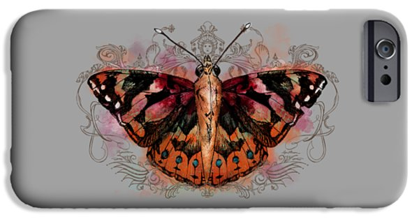 Paint Digital iPhone Cases - Painted Lady II iPhone Case by April Moen