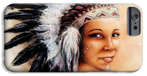Native American Spirit Portrait iPhone Cases - Painting Of A Young Indian Woman Weaillustration Painting Young Indian Woman Wearing A Gorgeous Feat iPhone Case by Jozef Klopacka