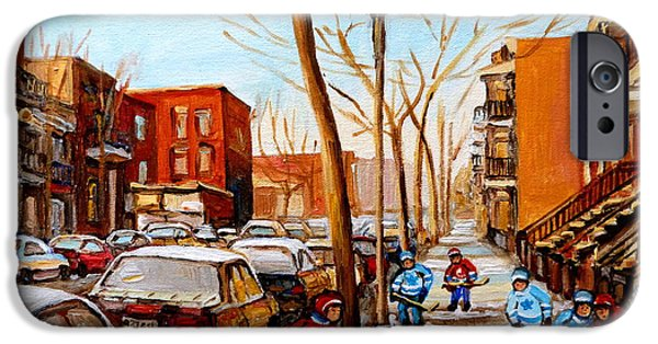 Hockey Scenes iPhone Cases - Paintings Of Verdun Streets In Winter Hockey Game Near Row Houses Montreal City Scenes iPhone Case by Carole Spandau