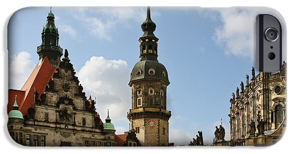 Historic Buildings iPhone Cases - Palace Square in Dresden iPhone Case by Christine Till