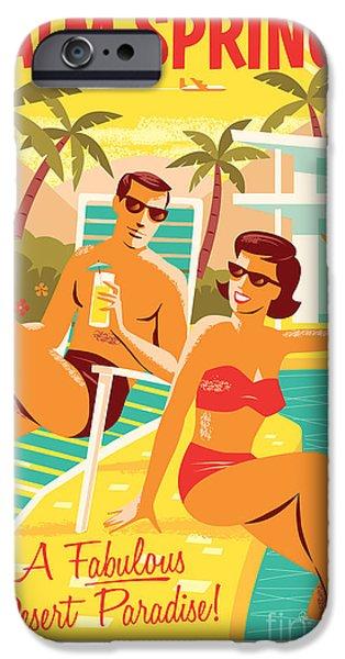 Retro iPhone 6 Case - Palm Springs Poster - Retro Travel by Jim Zahniser