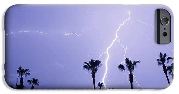 Photography Lightning iPhone Cases - Palm Trees Stormy Weather iPhone Case by James BO  Insogna