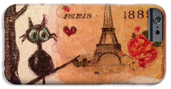 Paris Cat  IPhone 6 Case by Roxy Rich