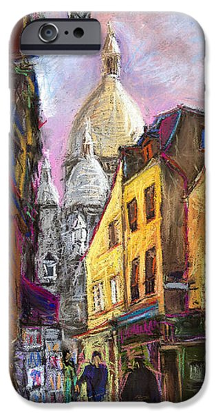 Old Pastels iPhone Cases - Paris Montmartre 2 iPhone Case by Yuriy  Shevchuk