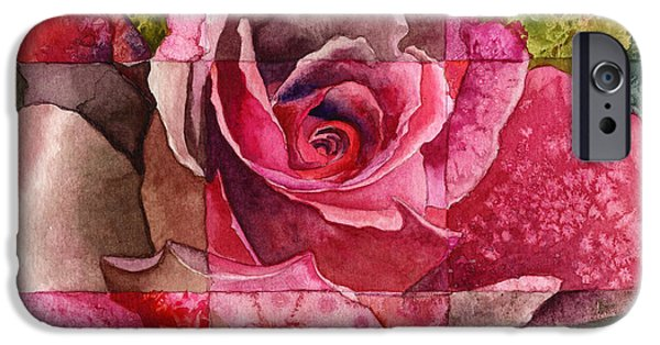Red Rose iPhone 6 Case - Partitioned Rose IIi by Anne Gifford